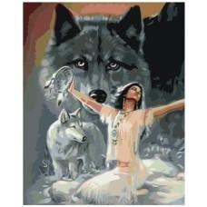 Картина по номера - Момиче и вълки ZG-0187