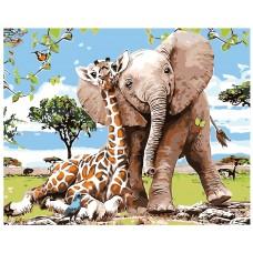 Картина по номера - Слон и жираф ZG-0211