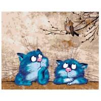 GI 304112 Диамантен гоблен - Сини котки