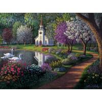 PZ 304140 Диамантен гоблен - Църква в парка