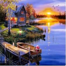 PZ 304147 Диамантен гоблен - Къща в езерото