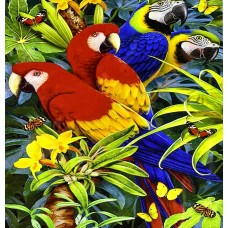 GI 304129 Диамантен гоблен - Семейство папагали
