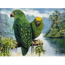 GI 304131 Диамантен гоблен - Зелени папагали