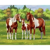 GI 304136 Диамантен гоблен - Семейство коне