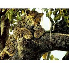 GI 304145 Диамантен гоблен - Леопард на дърво