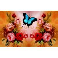 FL 304098 Пеперуда и розови цветя - Диамантен гоблен