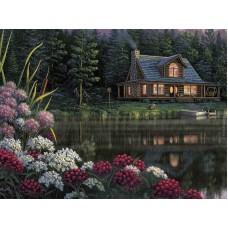 Комплект за рисуване по номера. Къща в езерото – GX 21458