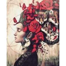 Жена с лисици Картина по номера GX 39392