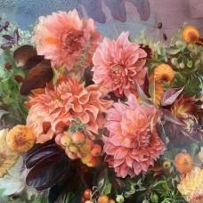 Картина по номера - Розови цветя  ZP-037