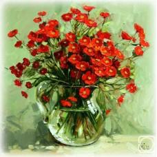 Картина по номера - Червени цветя  ZP-054