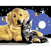 Котка и куче - Картина по номера CX 3532