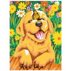 Куче в цветя - Картина по номера CX 3825