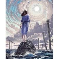 LD 304090 Момиче и море - Диамантен гоблен
