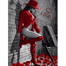 LD 304191 Дама в червено - Диамантен гоблен