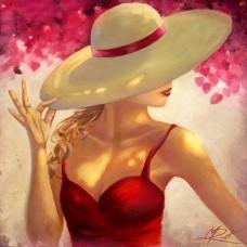 LD 303093 Романтична дама в шапка - Диамантен гоблен