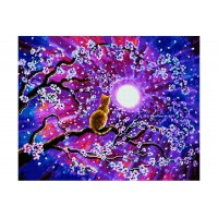 Котка и луна - диамантен гоблен GI 404003