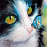 Котка и пеперуда - диамантен гоблен GI 404004