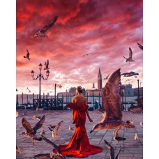 Жена в червено на брега - Диамантен гоблен LD 405071