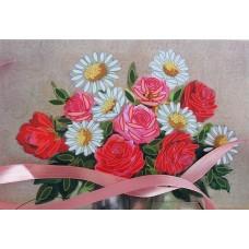 Бродерия с панделка: усукана роза
